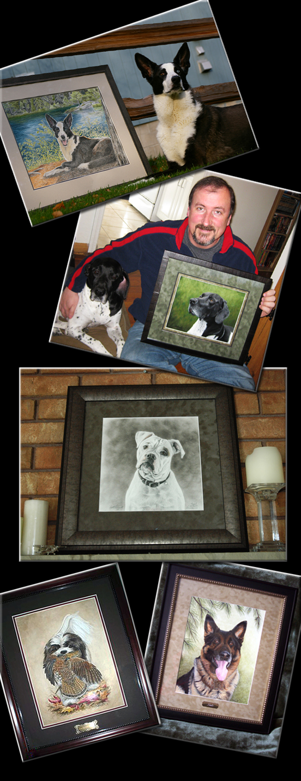 Satisfied clients with their pet portraits