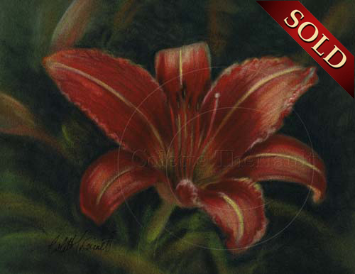 Daylily painting in pastel