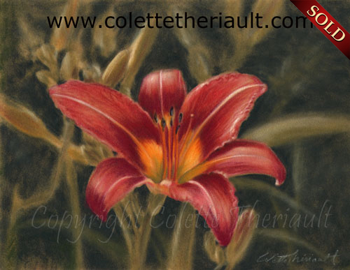 wild daylily flower painting in pastel-Floral Artwork