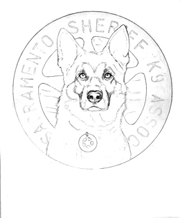 outline sketch of police dog drawing