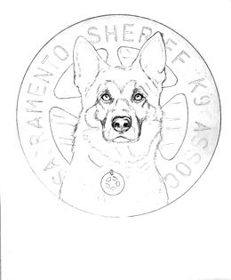 outline sketch of police dog drawing