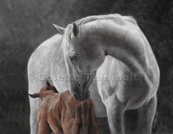 Mare and Foal Horse Pastel Painting-Equine Portrait
