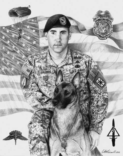 Military police k-9 dog artwork