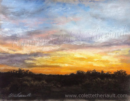 Sunset Painting in Pastel by Canadian Realist Artist Colette Theriault