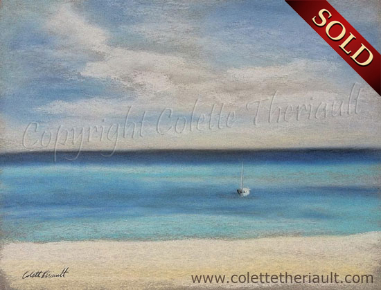 Sailboat Painting in Pastel by Canadian Realist Artist Colette Theriault