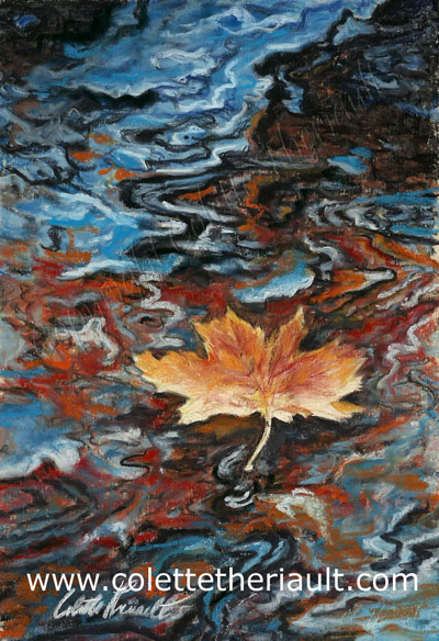 floating maple leaf reflection in stream pastel painting