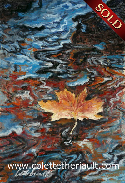 floating maple leaf autumn painting