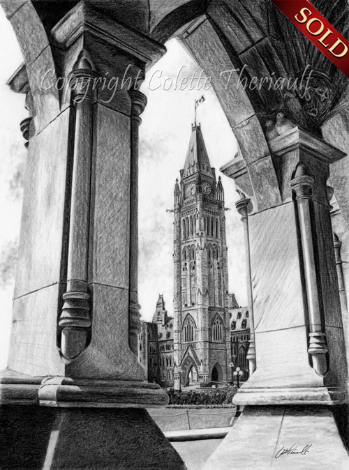 Ottawa Parliament Arch Artwork drawing in pencil